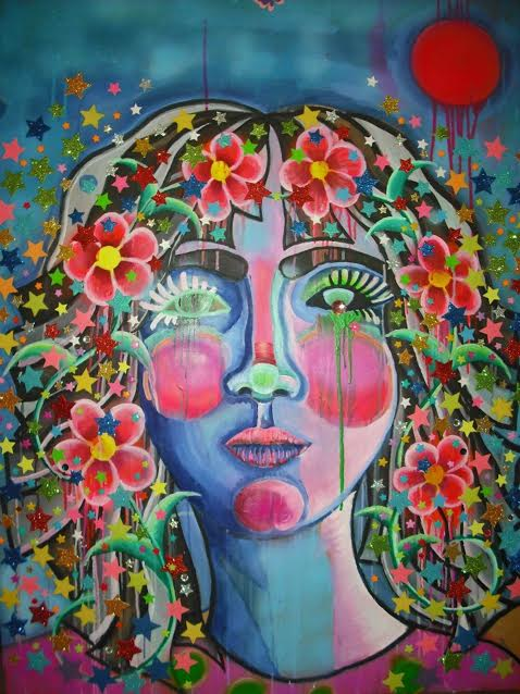 katie Flower Child, Spray paint, oil paint and mixed media on masoni.jpg